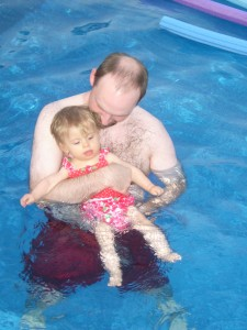 Daddy and Josephine in the pool